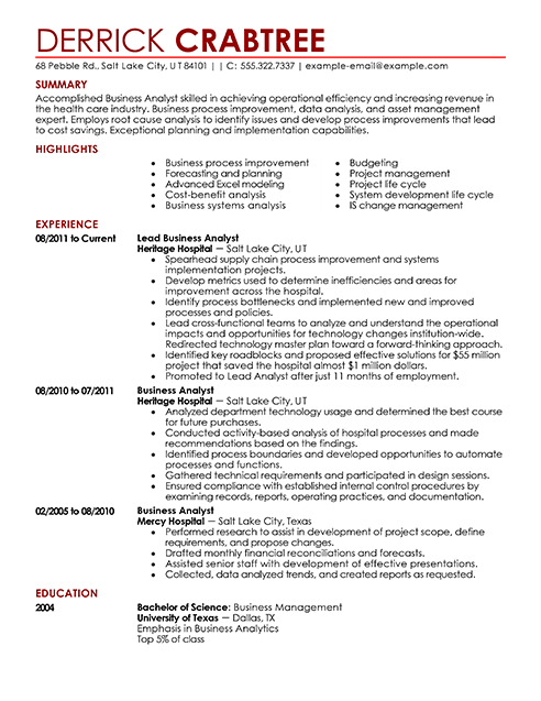 business analyst resume example contemporary 5